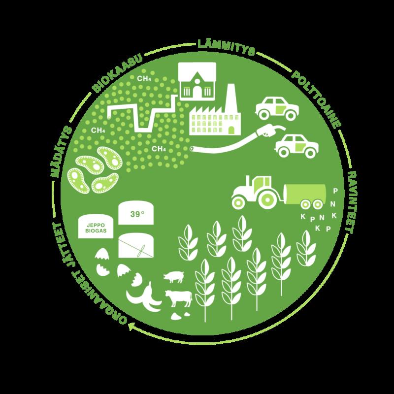 Infografik biogasprocess Jeppo Biogas