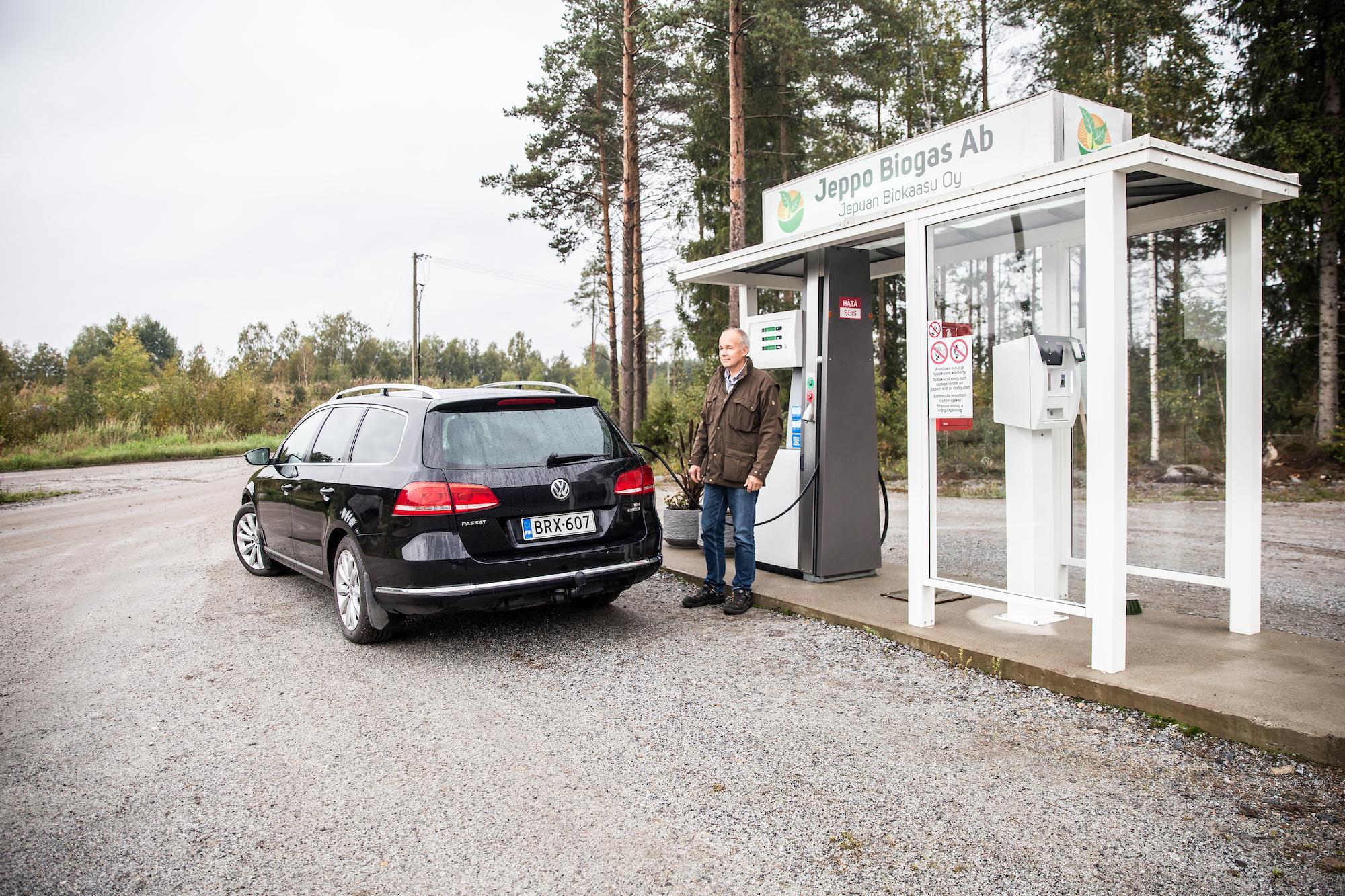 Biotankstation där man får trafikbiogas i Jeppo